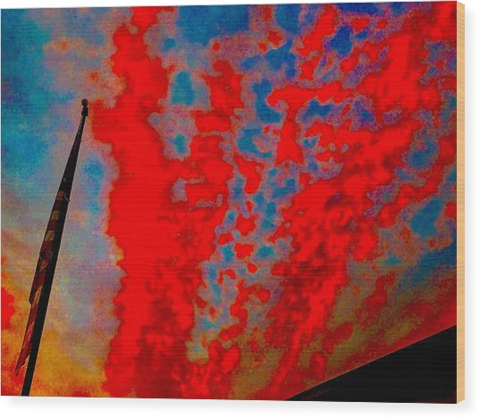 Trump Red Sunset Meets American Flag Wood Print