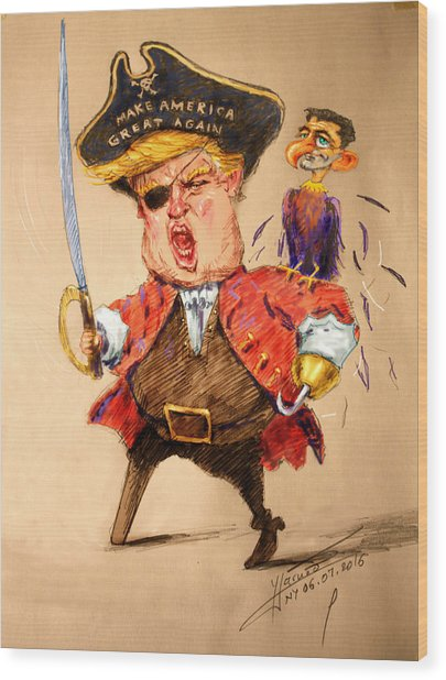 Trump, The Short Fingers Pirate With Ryan, The Bird Wood Print