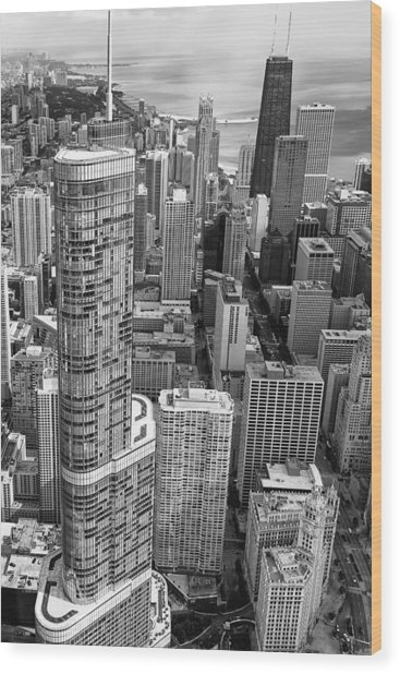 Trump Tower And John Hancock Aerial Black And White Wood Print
