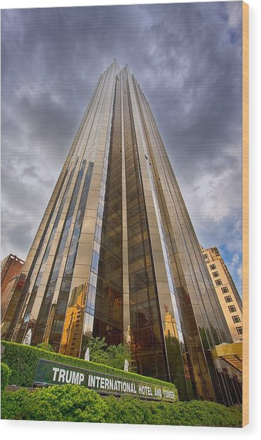 Trump Tower At Columbus Circle Nyc Wood Print
