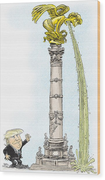 Trump Visits Mexico Wood Print