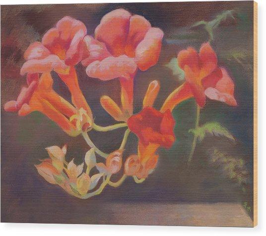 Trumpet Flowers Wood Print
