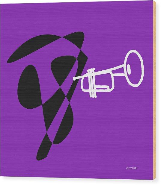 Trumpet In Purple Wood Print