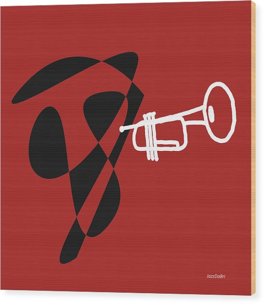 Trumpet In Orange Red Wood Print