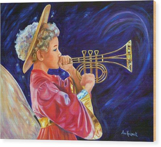 Trumpeting Angel Wood Print