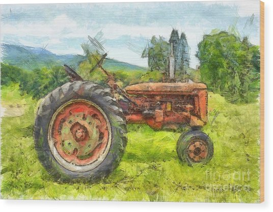 Trusty Old Red Tractor Pencil Wood Print