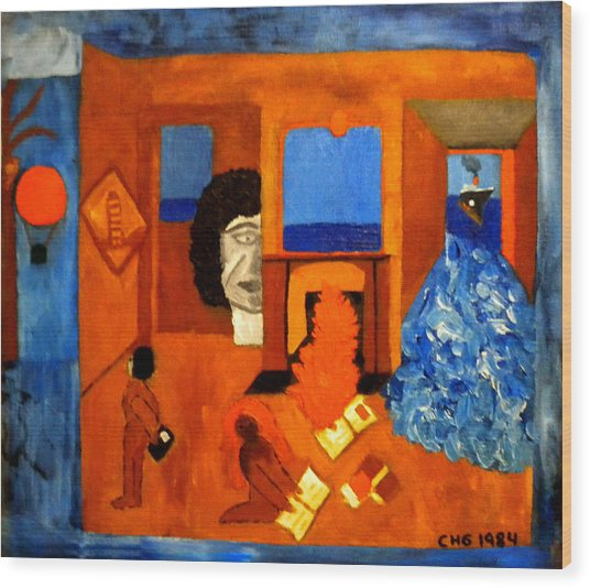 Wood Print featuring the painting Trying To Find The Way Out Or Is It Better To Stay   by Colette V Hera  Guggenheim