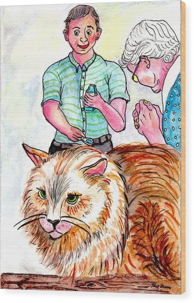 Trying To Give Grandmas Cat Her Medicine Wood Print