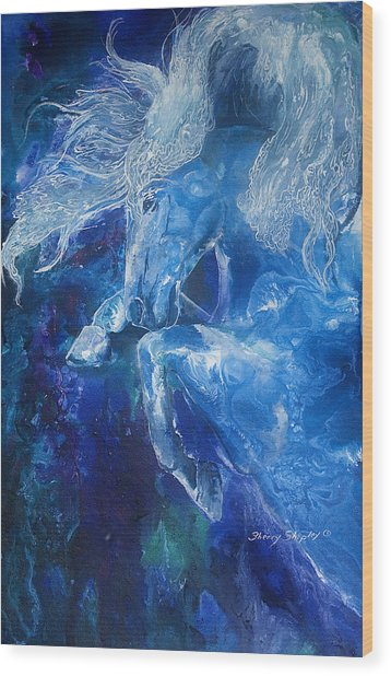 Tsunami Water Horse Wood Print