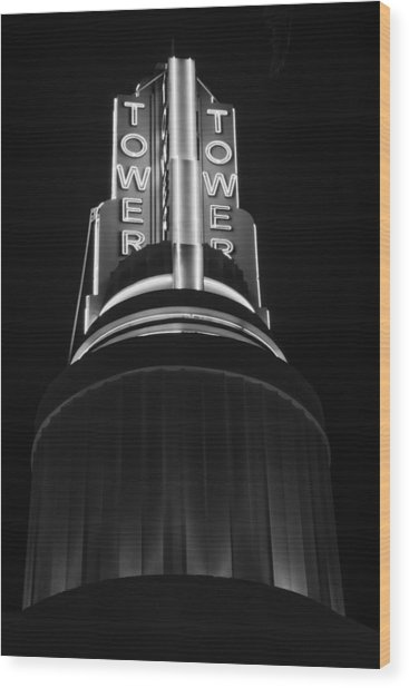 Ttower Theatre  Black And White Wood Print