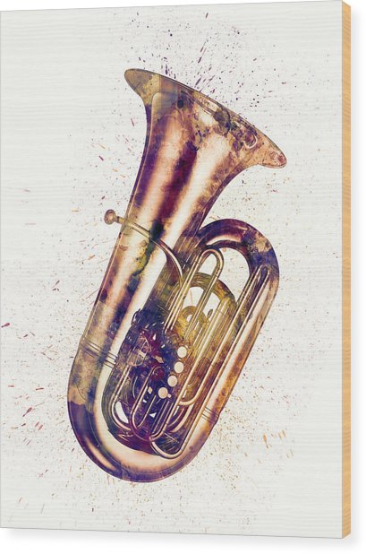 Tuba Abstract Watercolor Wood Print