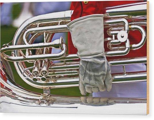 Tuba Player. Usmc Band Wood Print