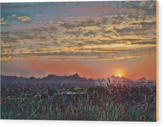 Wood Print featuring the photograph Tucson Sunset Remix by Dan McManus