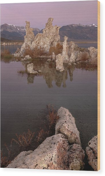 Tufa And Mountains Wood Print