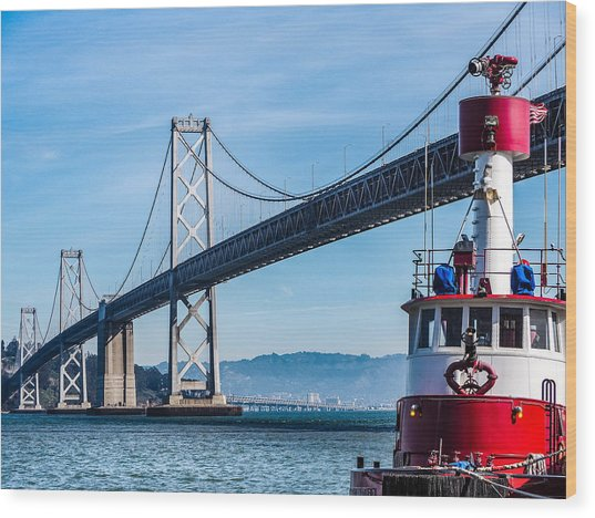 Tug Boat By The Bay Bridge Wood Print