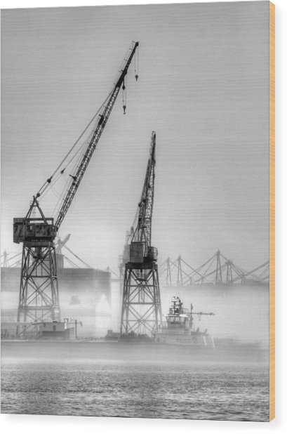 Tug With Cranes Wood Print