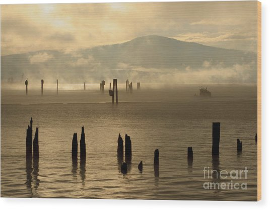 Tugboat In The Mist Wood Print