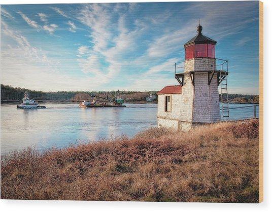 Tugboat, Squirrel Point Lighthouse Wood Print