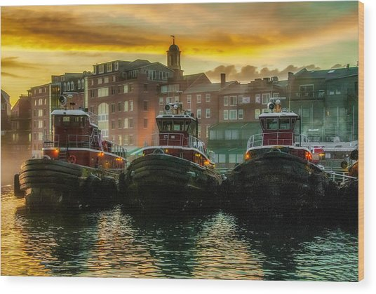 Tugboats In Portsmouth Harbor At Dawn Wood Print