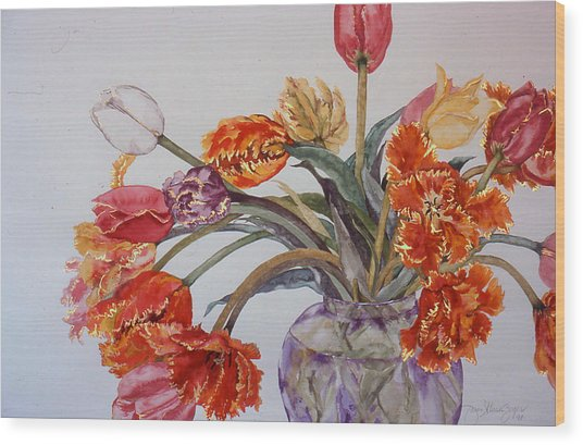 Tulip Bouquet - 12 Wood Print by Caron Sloan Zuger