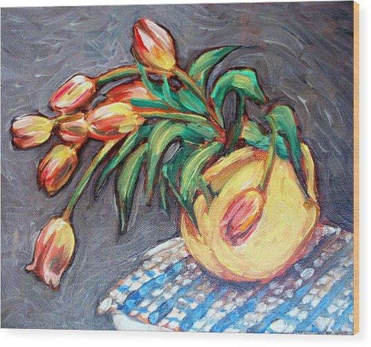 Tulip Fiesta Wood Print by Sheila Tajima