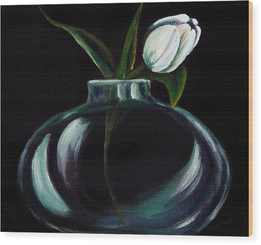 Tulip In A Vase Wood Print by Georgia Pistolis