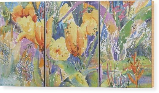 Tulip Triptych Wood Print