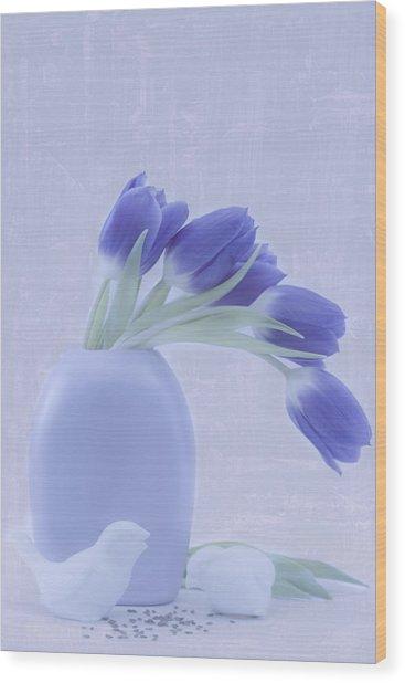Tulips And Birdies  Wood Print