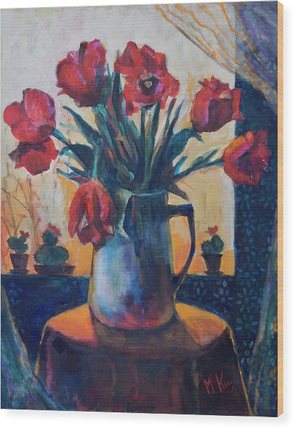 Tulips And Cacti Wood Print