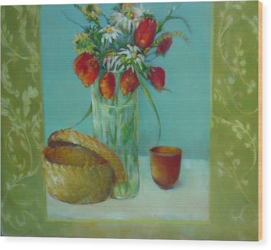 Tulips And Daisies               Copyrighted Wood Print by Kathleen Hoekstra