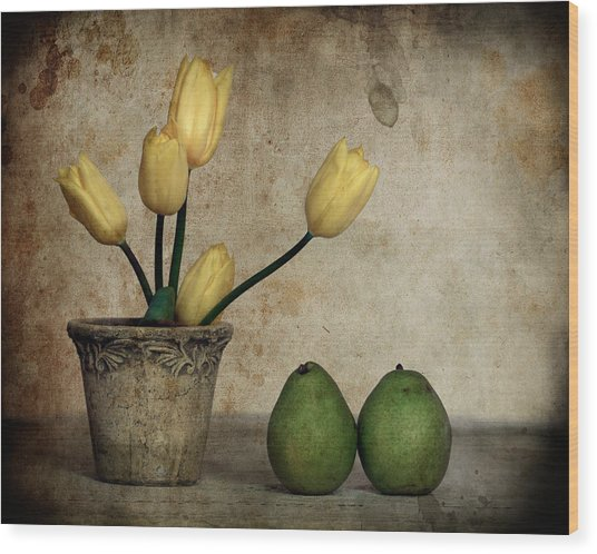 Tulips And Green Pears Wood Print by Levin Rodriguez