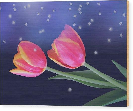 Tulips And Stars Wood Print