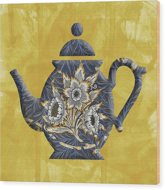 Tulips And Willow Pattern Teapot Wood Print