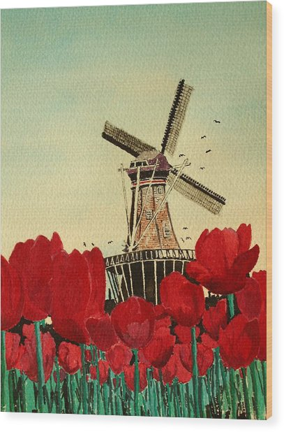 Tulips And Windmill Wood Print