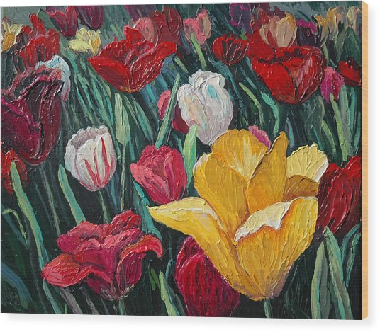 Tulips Wood Print by Cathy Fuchs-Holman