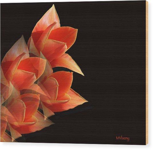 Tulips Dramatic Orange Montage Wood Print