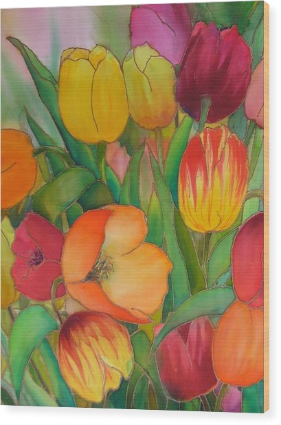 Tulips Wood Print by Evelyn Antonysen