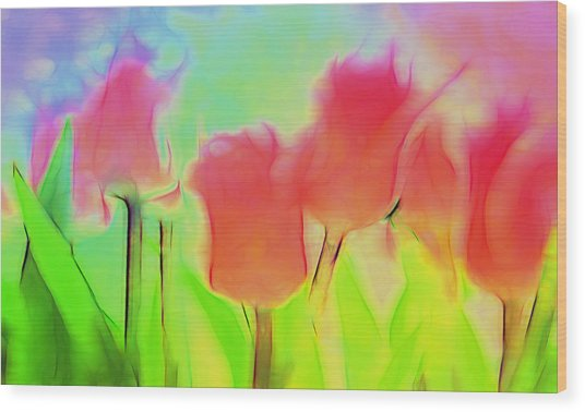 Tulips In Abstract 2 Wood Print