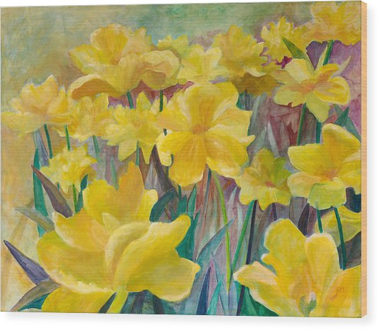Tulips In Abstract Time Wood Print by Rita Bentley