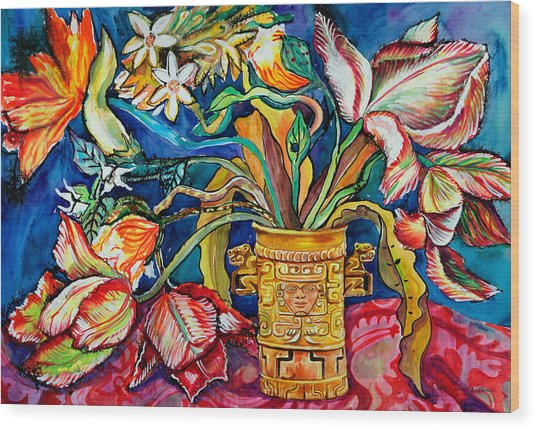 Tulips In Mexican Vase Wood Print