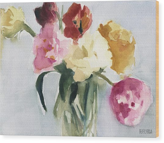 Tulips In My Studio Wood Print by Beverly Brown
