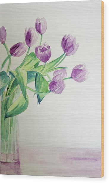 Tulips In Purple Wood Print by Julie Lueders