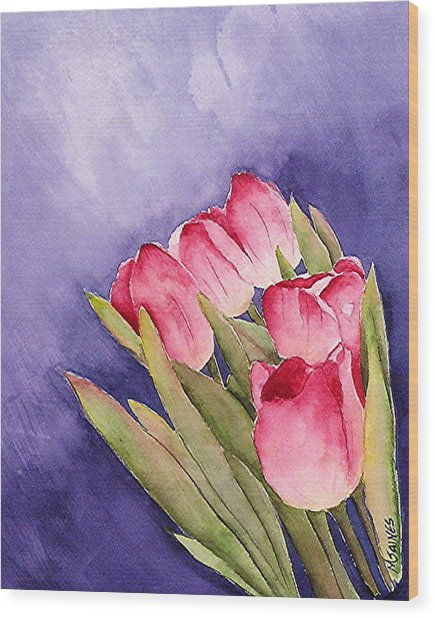 Tulips In The Wind Wood Print by Mary Gaines