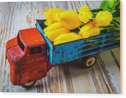 Tulips In Toy Truck Wood Print