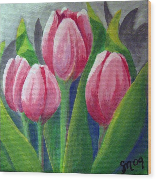 Tulips Wood Print by Sharon Marcella Marston