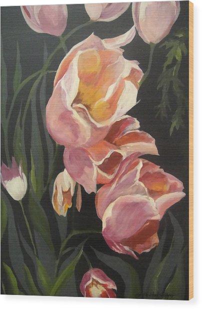 Tulips Tumbling Wood Print