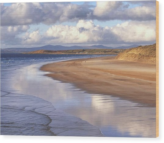 Tullan Strand - Clouds Reflected In The Sea, The Beach And Donegal Hills Wood Print