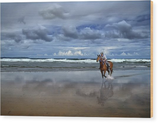 Tullan Strand - Horseriding In The Surf Wood Print