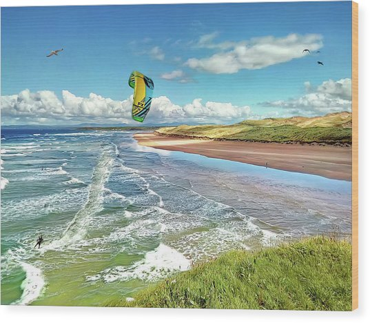 Tullan Strand - Surf, Blue Sky And A Kite Surfer Enjoying The Waves Wood Print