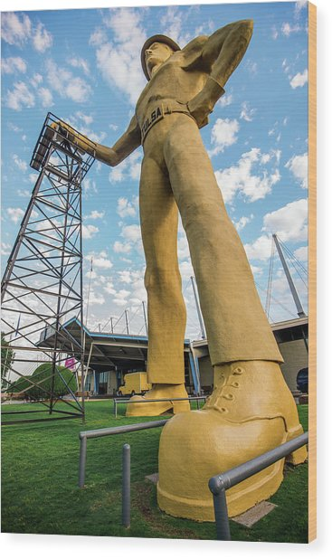 Tulsa Golden Driller From Below Wood Print